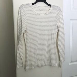 Caslon NWT Long Sleeve Ivory Striped T-Shirt